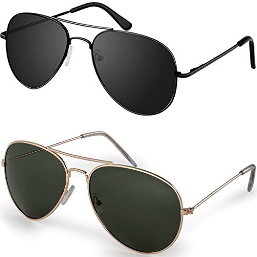 - Aviator UV400 Gold frame with G15 Polarized lens and Black Frame with Smoke Polarized Lens