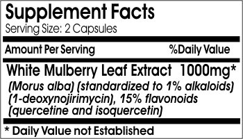 White Mulberry Leaf Extract 1000mg 1% Alcaloids 15% Flavonoids ~ 200 Capsules - No Additives ~ Naturetition Supplements