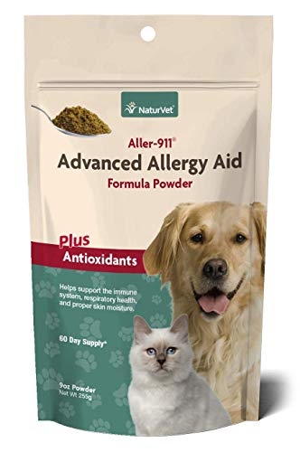 NaturVet - Aller-911 Advanced Allergy Aid Plus Antioxidants - 9 oz Powder - Supports Immune System, Skin Moisture & Respiratory Health - Enhanced with Omegas, DHA & EPA - For Dogs & Cats