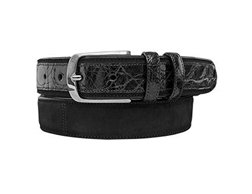 [Mezlan Mens Rich Suede & Genuine Crocodile, BLACK, 40 (AO9482)] (Mezlan Crocodile Belt)