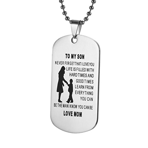 Necklaces & Pendants, Hmlai Dad Mom To My Son Dog Tag From Dad Mens Boys Necklace Military Chain Air Force Pendant (D)