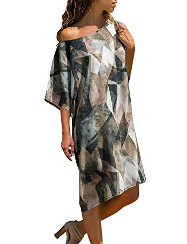 Vetinee Women's Abstract Printed Sleeve One Shoulder Loose Casual T Shirt Dress Small (US ()