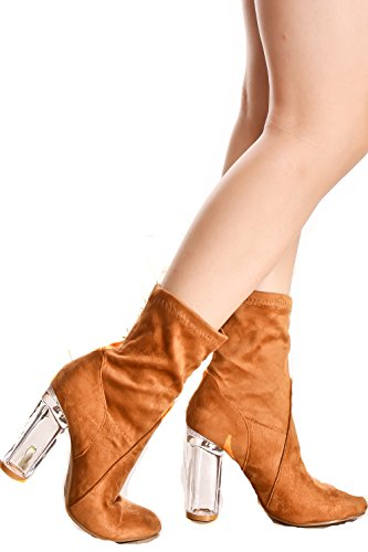 Dnd Fashion Faux Lederen Voorkant Kant Ontwerp Rits Accent Look Casual Platform Hoge Hak Booties Tan-clear-11