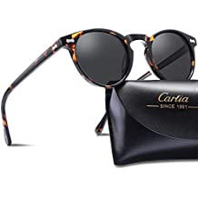 Carfia Vintage Polarized Sunglasses for Women UV400 Protection Lens Acetate Frame