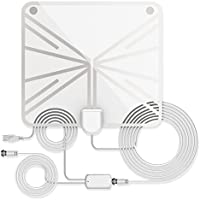 Indoor Amplified TV Antenna 60 to 70 Miles Range with Detachable Amplifier Signal Booster and 13.2 Feet Coaxial Cable