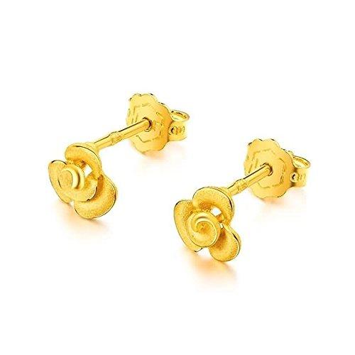 Beydodo 1.85g 24K Yellow Gold 999 Stud Earrings for Womens Flowers Earrings Stud Valentines Day Gift