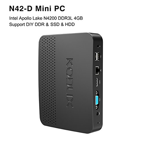 KODLIX N42-D Fanless Mini PC, Intel Pentium Apollo Lake N4200 (up to 2.5 GHz) Windows 10 Pro 64-Bit /4GB Ram Installed (Expandable DDR Via 2xSODIMM, Max 8GBx2)/SSD&HDD Slot/Gigabit Ethernet/USB-C/NAS