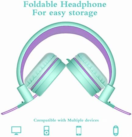 Elecder I37 Kids Headphones Children Girls Boys Teens Foldable Adjustable On Ear Headphones 3.5mm Jack Compatible IPad Cellphones Computer MP3/4 Kindle Airplane School Tablet Green/Purple