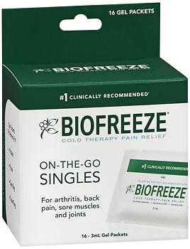 Biofreeze Cold Therapy Pain Relief On-The-Go Singles Gel Packets - 16 ct, Pack of 2