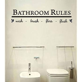 Amazing Bathroom Wall Art Decal Sticker Funny Kids Reminder Decoration ,Bathroom  Rule Wash Nice Look