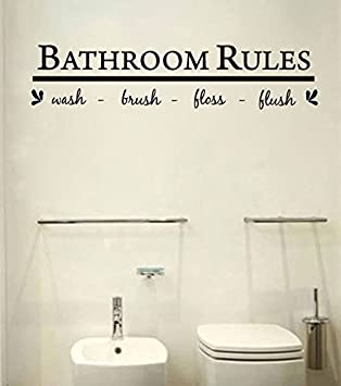 Bathroom Wall Art Decal Sticker Funny Kids Reminder Decoration ,Bathroom  Rule Wash Part 27