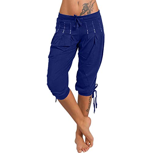 Botrong Womens Shorts Fashion Summer Bowknot Capri Baggy Harem Pants with Drawstring (Blue,L)