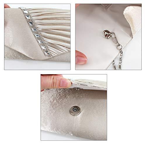 Apricot Clutch Felice Satin Studded Rhinestone Crystal Pleated Evening Handbag Clutch nzx0rvw8qz