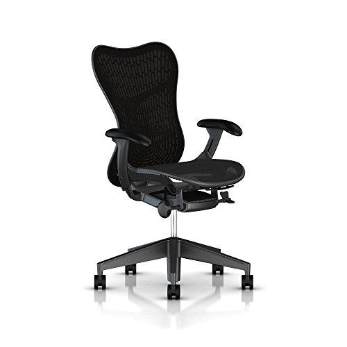 Herman Miller Mirra 2 Task Chair: Tilt Limiter & Seat Angle - Adjustable Seat - Adjustble Lumbar Support - Butterfly Back - Adjustable Arms - Graphite Frame/Base - Hard Floor (Butterfly Chair Base)