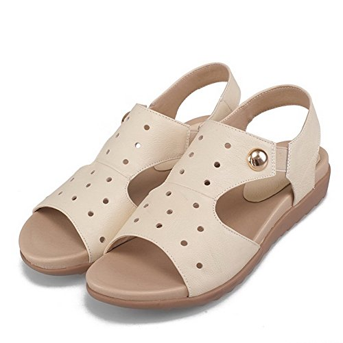 Amoonyfashion Kvinna Solid Ko Läder Låga Klackar Öppen Tå Dra På Sandaler Beige