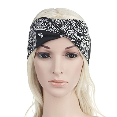 Egmy Clearance ❤️ Women Yoga Sport Elastic Floral Hair Band Headband Turban Twisted Knotted (Black)