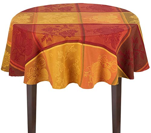- Nantucket Home Fall Pumpkin Harvest Orange Red Cotton Fabric Tablecloth (60
