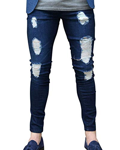 De Denim Modernas Hombres Jeans Haidean Casual Los Pantalones Chern Mezclilla Dunkelblau Vaqueros qxHSgSE