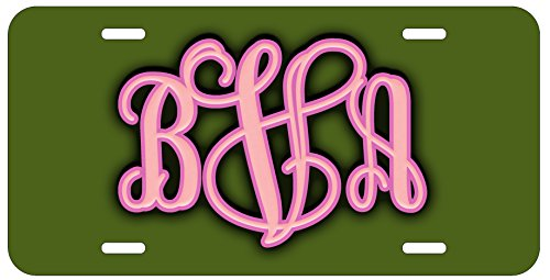 Personalized Monogram License Plate - Green Pink Custom Initials Auto Car Tag