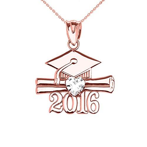 Collier Femme Pendentif 10 Ct Or Rose Cœur Avril Pierre De Naissance Blanc Oxyde De Zirconium Classe De 2016 Graduation (Livré avec une 45cm Chaîne)