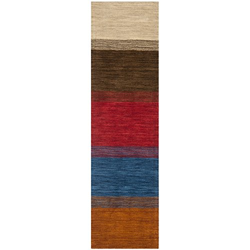 Safavieh Himalaya Collection HIM581A Handmade Orange and Multi Premium Wool Runner (2'3 x 8′)