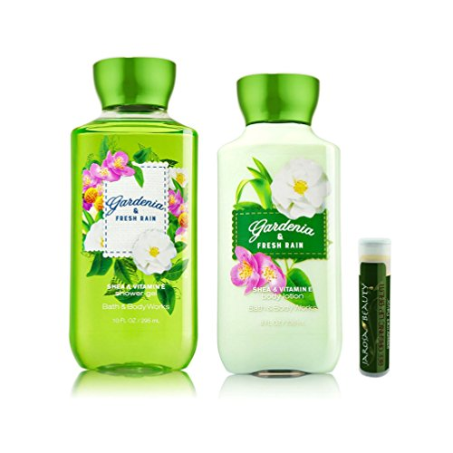 Bath & Body Works Gardenia & Fresh Rain Body Lotion 8 fl.oz/236 mL & Shower Gel 10 fl.oz/295 mL with a Jarosa Bee Organic Peppermint Lip Balm