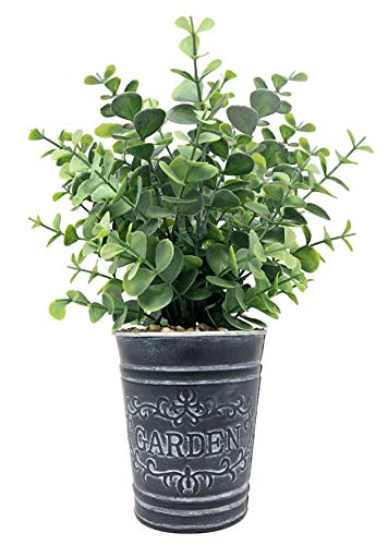 Lifelike Artificial Greenery Boxwood Evergreen Shrubs in Farmhouse Theme Vintage Decorative Tin Pot, Home, Office, Hotel, Restaurant, Lobby, Porch Decoration (Boxwood)
