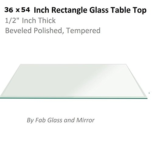 Fab Glass and Mirror 1/2'' Thick Beveled Tempered Radius Corners Rectangle Glass Table Top, 36'' X 54'' by Fab Glass and Mirror