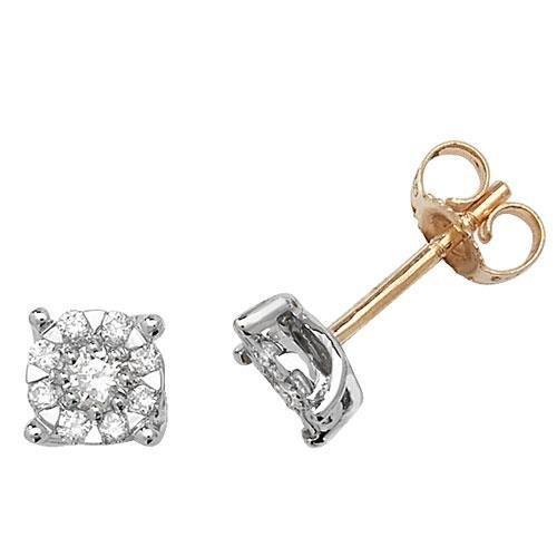Boucles d'oreilles diamant 5.8mm Or jaune 9carats buyfinediamonds g-H I1-20,35carats