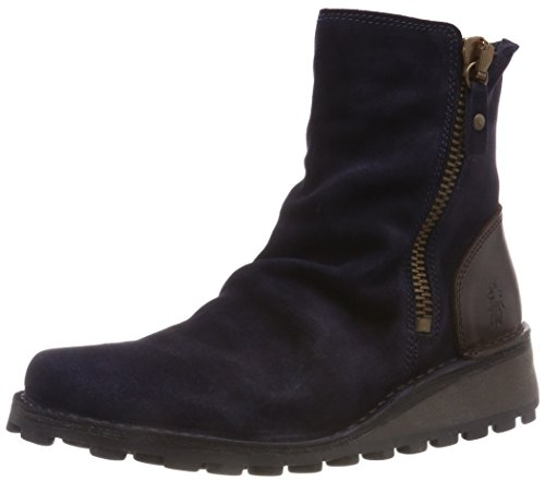 (FLY London Mon Womens Zip Fastening Suede Slouch Wedge Ankle Boots 40 C (M) EU/ 9 B(M) US Navy/Dark Brown)
