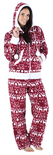 Frankie & Johnny Women's Sleepwear Fleece 2-Piece Zip Hoodie Pant Loungewear Pajamas PJ Set, Cranberry Winter (FJ1145-1052-XL)