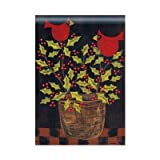 """""""Holly Birds"""" Christmas Standard House Flag – 28″ X 40″ – Holly & Berries in Basket, Cardinals For Sale"""