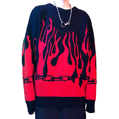 Women Sweater Long Sleeve Flame Bat Sleeve Jumper Oversized Casual Knitting Pullover Tops