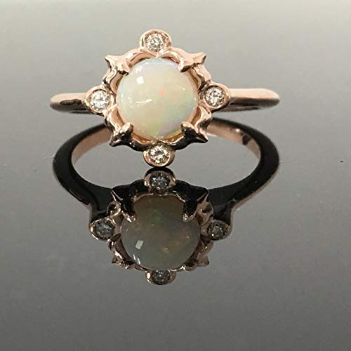 Rose Gold Opal Engagement Ring - Solid 14K Rose Gold Round Cabochon Opal and Diamond Vintage Inspired Ring - Rose Gold Dainty White Australian Opal and Diamond Victorian Ring