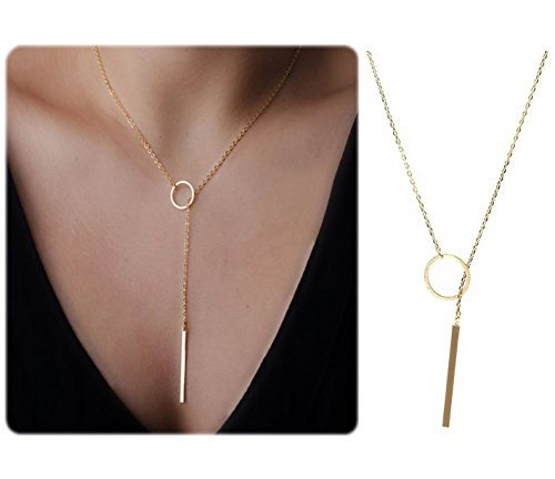 Bestjybt Fashion Women Metal Ring Y Shaped Necklaces Circle Lariat Necklace, Yellow