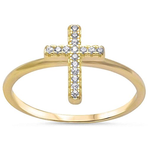 Wedding Engagement Cross Ring Round Cubic Zirconia Yellow Tone.925 Sterling Silver (Yellow Cross Silver Tone)