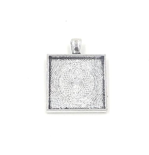 20 Deannassupplyshop Square Pendant Trays - Antique Silver - 1 Inch - 25mm - Pendant Blanks Cameo Bezel Settings Photo Jewelry - Custom Jewelry Making - 1 from Deanna's Supply Shop LLC