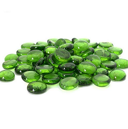 Kaputar Green Flat Marbles, Pebbles, Glass Gems for Vase Fillers, Table Scatter, 5 LBS (Approx 400 pcs) | Model WDDNG -971 | 5 LB Bag