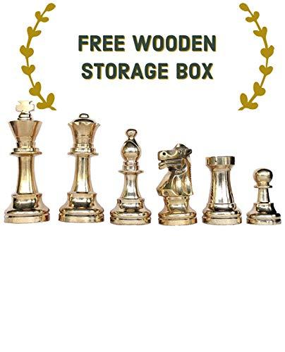 CHESSNCRAFTS Brass Metal Staunton Chess Pieces Coins Set King Height 3.25