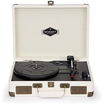 AUNA Peggy Sue Cream Edition Record player  Vinyl turntable  Belt drive  Stereo speakers  USB port  Playback digitization  Volume control  RCA line-out  Carrying handle  Retro suitcase design