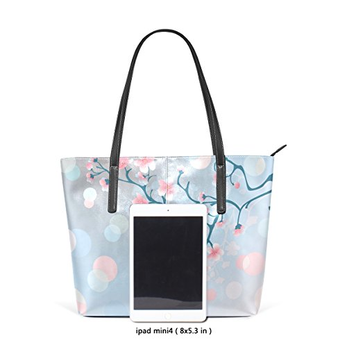 COOSUN Kirschblüten bei Sonnenaufgang PU Leder Schultertasche Handtasche und Handtaschen Tote Bag für Frauen