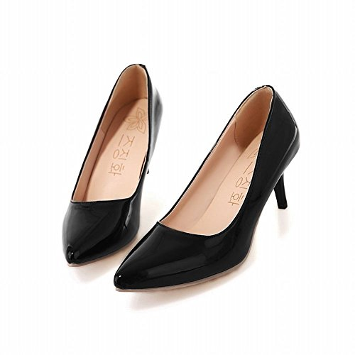 Latasa Womens Solid Color Pointed Toe Mid Heel Pumps Black hos3Pv8tW8