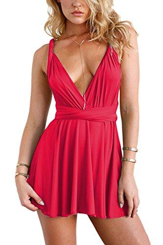 Mujeres Convertible Envolver Multi Way Vestido De Fiesta Mini Halter Red