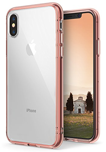 Ringke [Fusion] Case Compatible with iPhone X, Clear Transparent PC Back TPU Bumper [Drop Defense] Raised Bezels Scratch Protection Natural Form Qi Wireless Charging Compatible Cover - Rose Gold