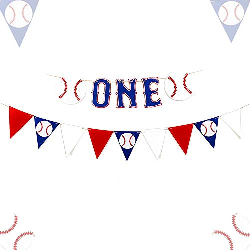 LaVenty Set of 2 Baseball First Birthday Banner Baseball Highchair Banner Baseball One Banner Baseball One Year old Banner Baseball Banner]()