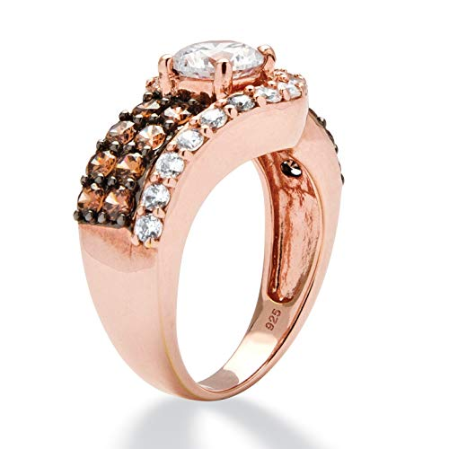 Rose Gold Plated Sterling Silver Round White and Brown Cubic Zirconia Ring