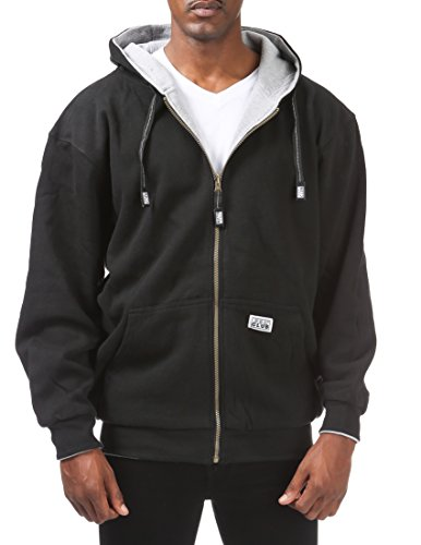 Pro Club Men's Full Zip Reversible Fleece and Thermal Hoodie, 7X-Large, Black/Heather Gray