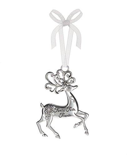 (Family, Faith, Friends - Silver Reindeer Zinc Epoxy Glass Christmas Ornament)