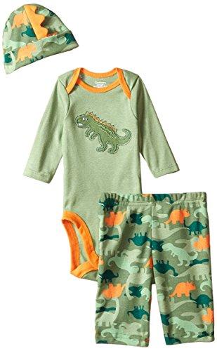 Gerber Baby-Boys Newborn 3 Piece Bodysuit Cap and Pant Set, Dino, New Born
