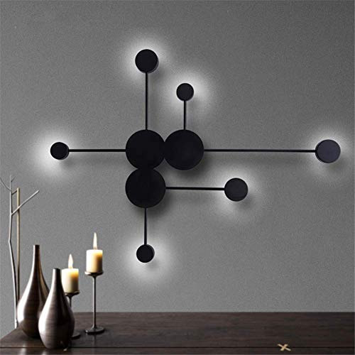 - Wall Light Fixtures Indoor Modern Simple Personality Creative Large 6 Round Shape Matte Black Wrought Iron Acrylic Led Wall Lamp Nordic Geometric Design Bedside Lamp for Living Room Bedroom